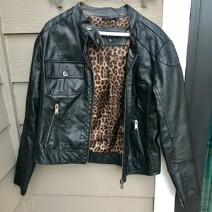 Rue 21 Black Cheetah Leather Jacket Size L